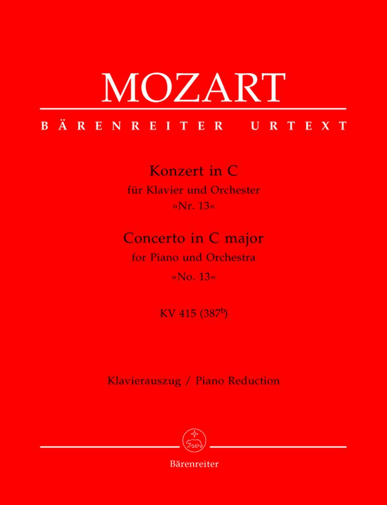 MOZART W.A. - CONCERTO IN C MAJOR FOR PIANO AND ORCHESTRA N°13 KV 415 - PIANO REDUCTION