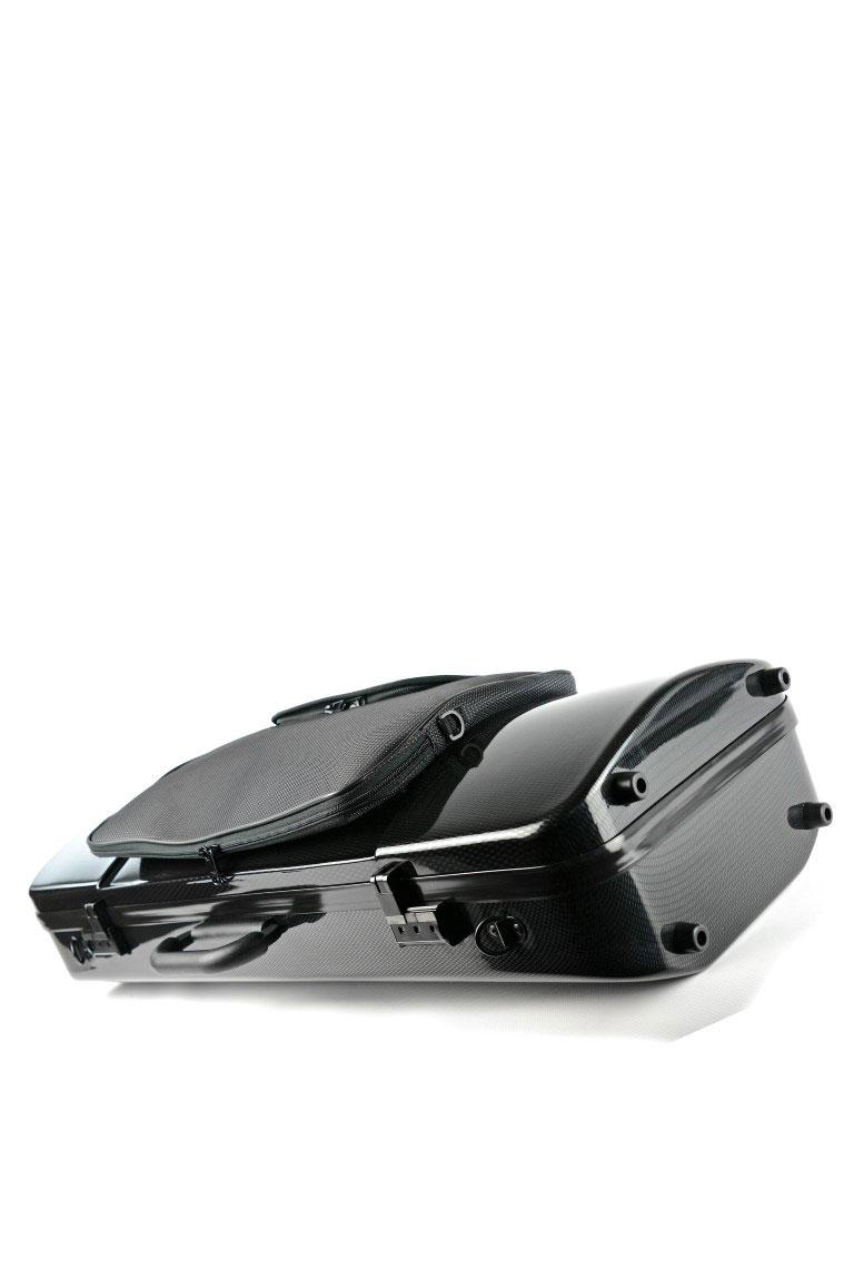 HIGHTECH OBLONG VIOLA CASE WITH POCKET - BLACK CARBON LOOK
