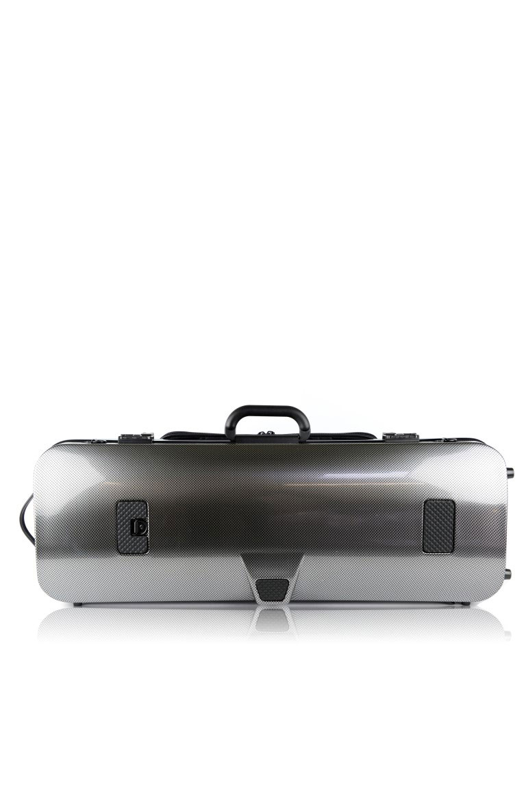HIGHTECH OBLONG VIOLA CASE COMPACTSIZE WITH POCKET-SILVER CARBON LOOK