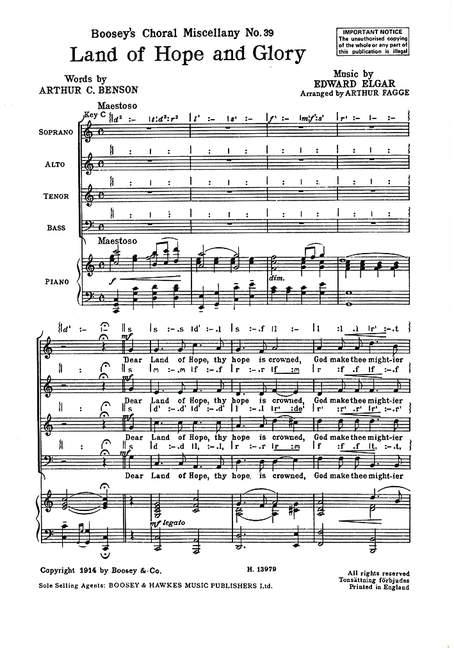 Boosey hawkes elgar edward land of hope and glory mixed choir and piano