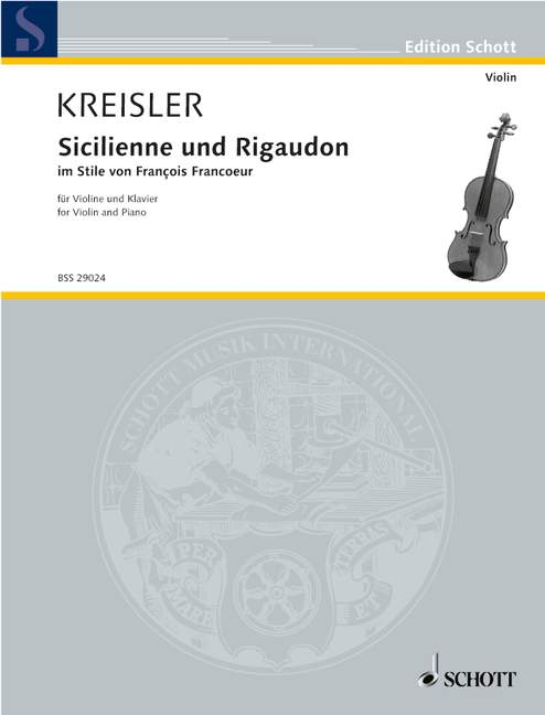 KREISLER FRITZ - SICILIENNE AND RIGAUDON - VIOLIN AND PIANO