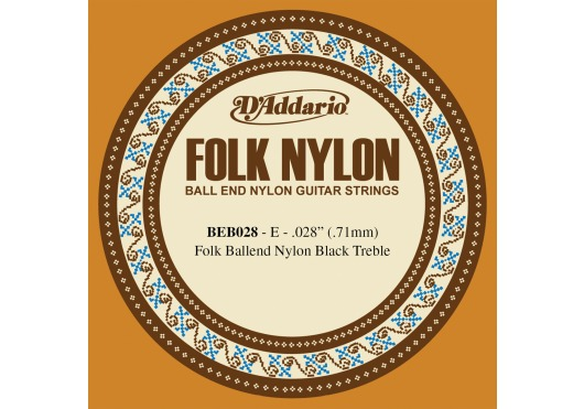 BEB028 FOLK NYLON GUITAR SINGLE STRING BLACK NYLON BALL END .028