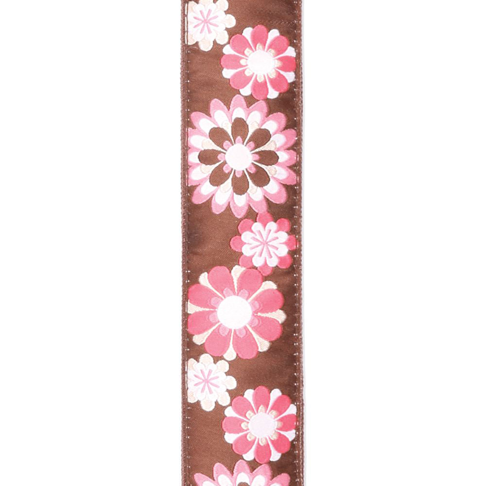 15UKE02 NYLON STRAP FOR UKULELE FLOWER PATTERN BROWN/PINK