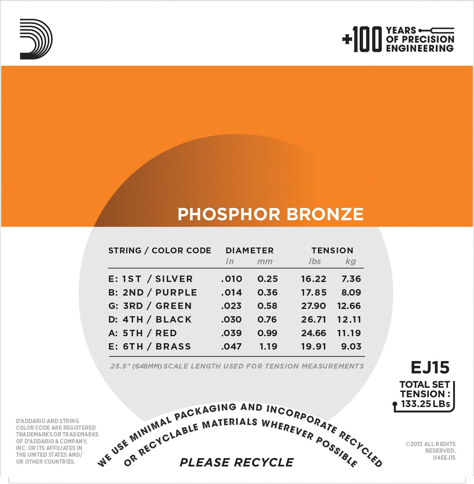 10-47 Extra Light Phosphorbronze D/'Addario EJ15 Saiten für Akustikgitarre