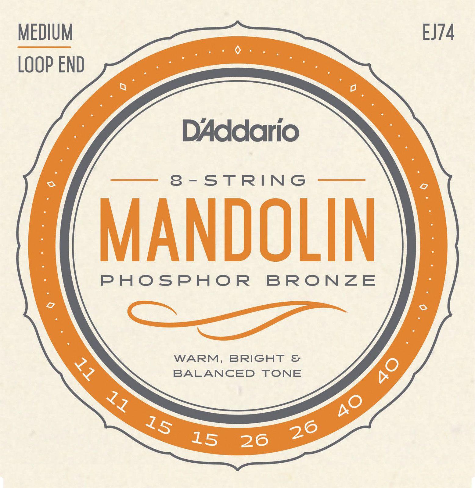 D\'addario And Co Cordes Pour Mandoline J74 Bronze Phosphoreux Medium 11-40