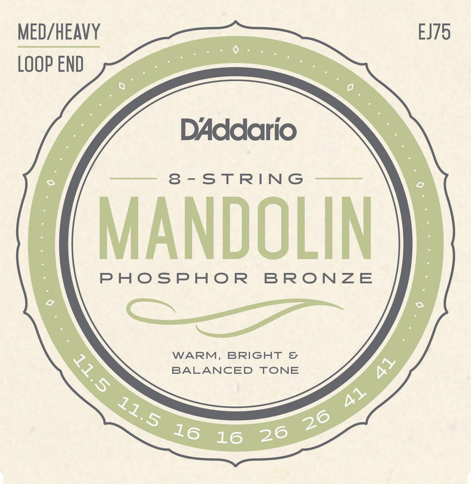 D\'addario J75 Mandoline Bluegrass Phosphore Bronze