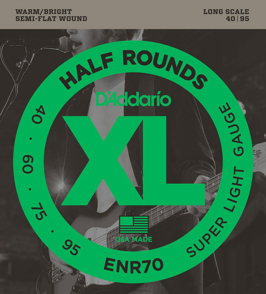 ENR70 HALF ROUND BASS GUITAR STRINGS SUPER LIGHT 40-95 LONG SCALE