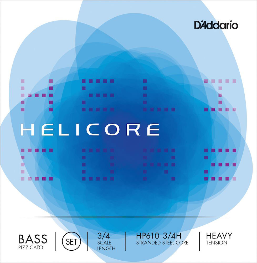 SET OF STRINGS FOR DOUBLE BASS PIZZICATO HELICORE 3/4 FRET FRETBOARD HEAVY TENSION