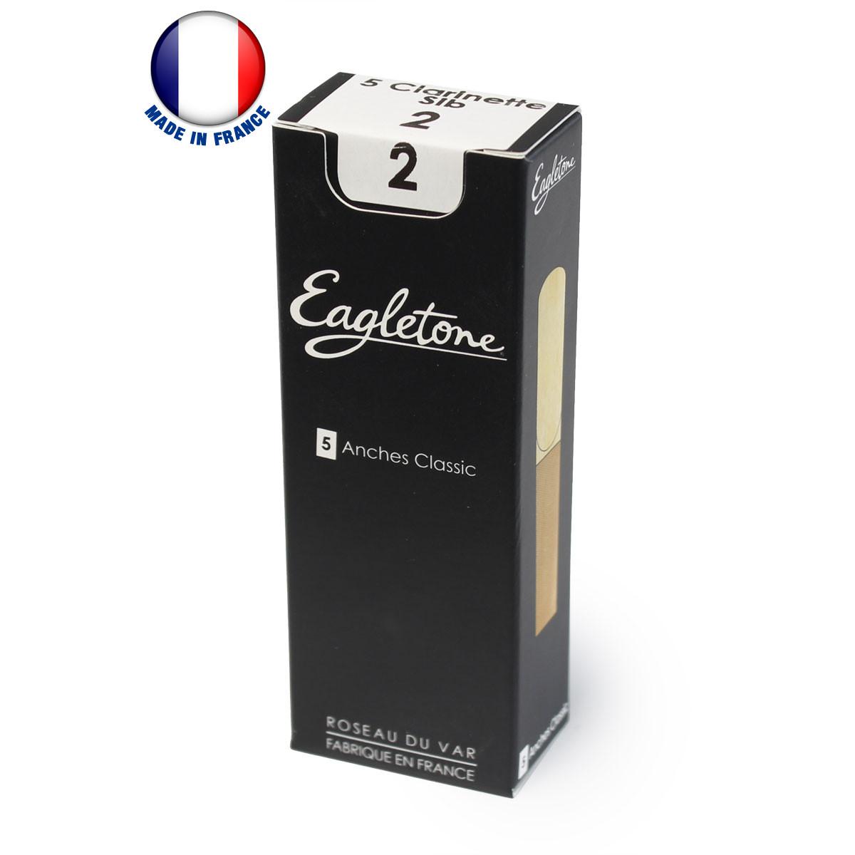 Product Fabriquées à partir de roseaux de Provence de première qualité séchés de manière naturelle au soleil pendant 2 ans, les anches Eagletone offrent équilibre et flexibilité, avec un timbre riche et une réponse vive. />Les professeurs et leurs élèves les apprécieront pour leur grande longévité, leur son équilibré et leur consistance uniforme. /> />Caractéristiques techniques : /> />- Anches Classic />- Boîte de 5 anches />- Pour clarinette Sib />- Force 2 />- Fabriquées à partir de véritables roseaux de Provence />- Fabriquées en France