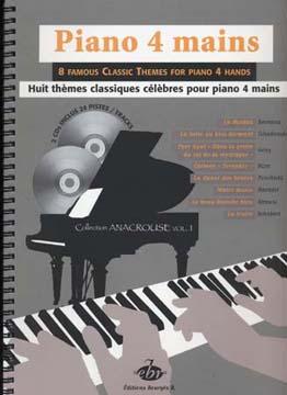 Piano 4 Mains - 8 Themes Classiques Celebres Pour Piano 4 Mains + 2 Cd