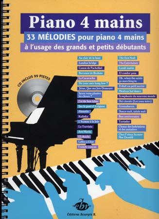 Piano 4 Mains + Cd, 33 Melodies A L'usage Des Grands Et Des Petits Debutants