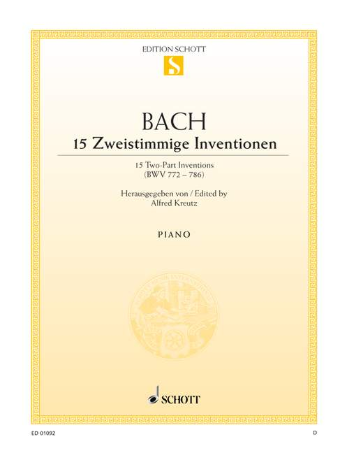 Bach J.s. - 15 Two-part Inventions Bwv 772-786 - Piano