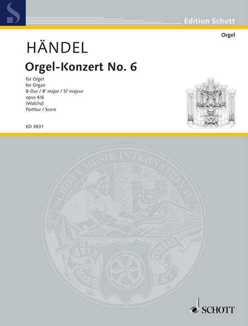Haendel G.f. - Organ Concerto No 6 B Major Op 4/6 Hwv 294 - Organ (harp), 2 Flutes (alto-recorders)