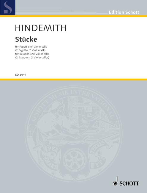 Hindemith Paul - 4 Pieces - Bassoon And Cello