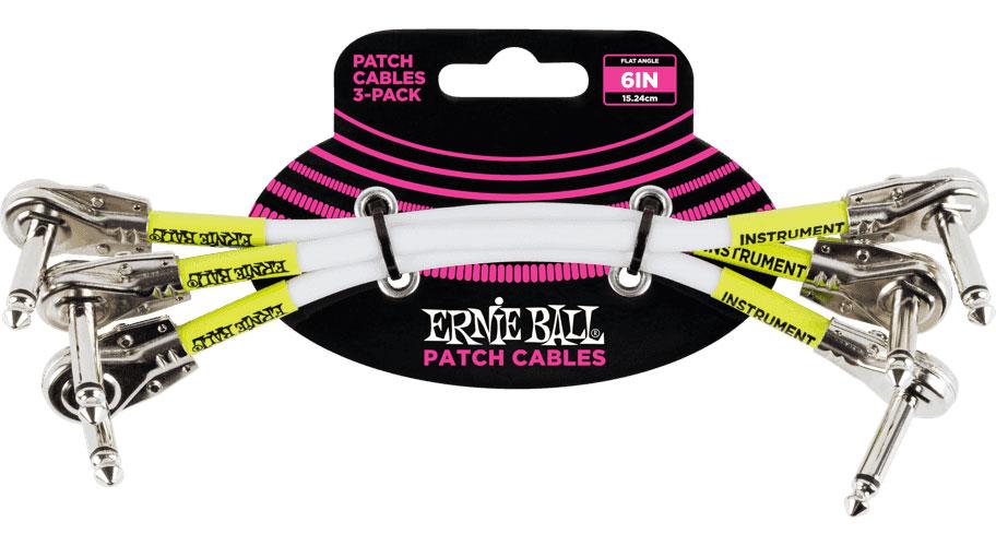 Ernie Ball Cables Instrument Patch Pack De 3 Coude Fin 15cm Blanc