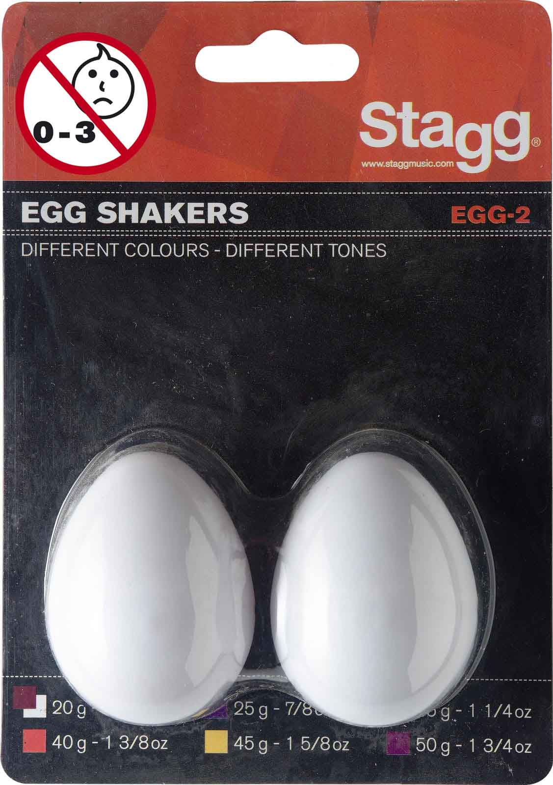 Stagg Paire Shaker Oeuf Plastique Egg-2 Wh
