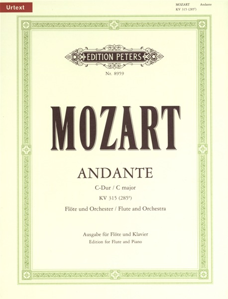 Mozart Wolfgang Amadeus - Andante In C K315 - Flute And Piano