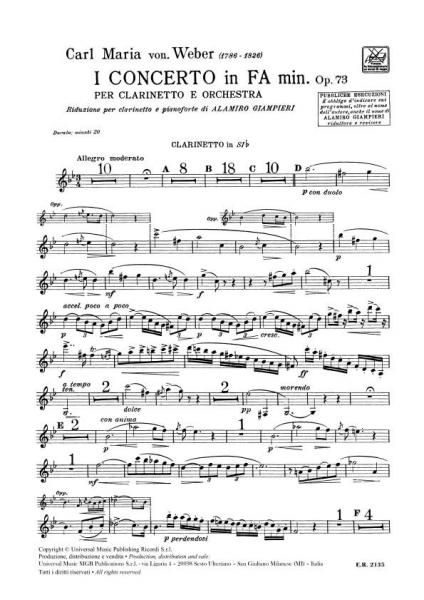 WEBER C.M. - CONCERTO N.1 IN FA MIN. OP.73 - CLARINETTE ET PIANO