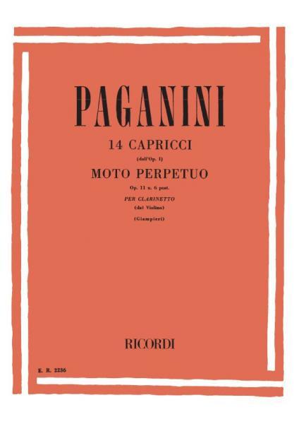 Paganini N. - 14 Capricci (dall'op.1) E 'moto Perpetuo' Op.11 N.6 - Clarinette