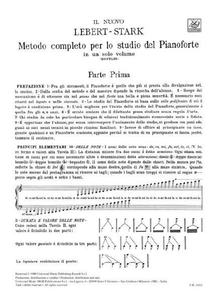 Il Nuovo Lebert Stark Metodo completo per lo studio del pianoforte in un solo vo