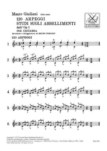 Sheet Music : Giuliani M. - 120 Arpeggi Studi Sugli ...