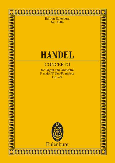Haendel G.f. - Organ Concerto No 4 F Major Op 4/4 Hwv 292 - Organ, 2 Oboes, Bassoon And Strings