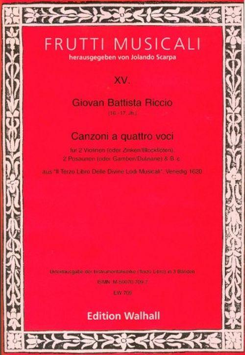 Walhall riccio g. b. canzonen und sonaten band iii