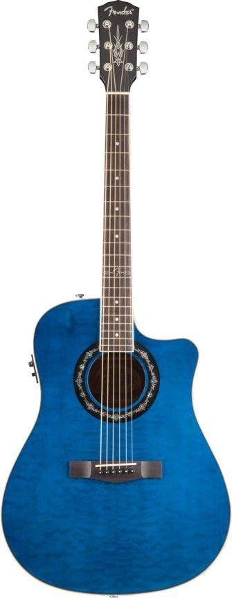 Fender T Bucket 300ce Trans Blue Quilt Maple