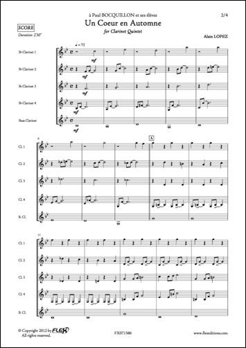 Lopez A. - Un Coeur En Automne - Quintette De Clarinettes