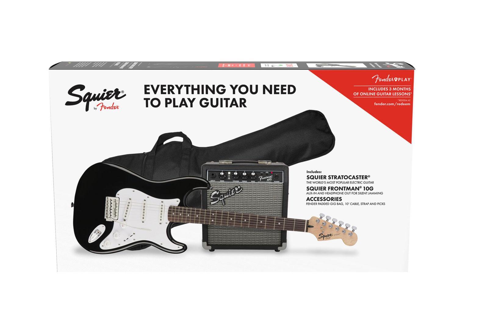 Squier By Fender Stratocaster Pack Laurel Fingerboard Black Gig Bag 10g - 230v Eu