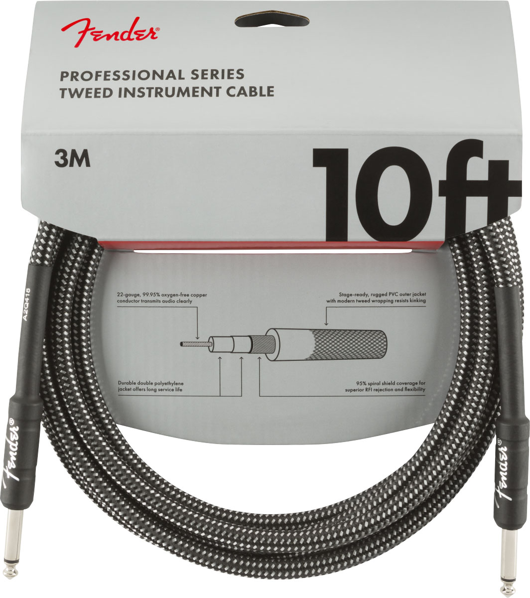 PROFESSIONAL SERIES INSTRUMENT CABLES 10' GRAY TWEED