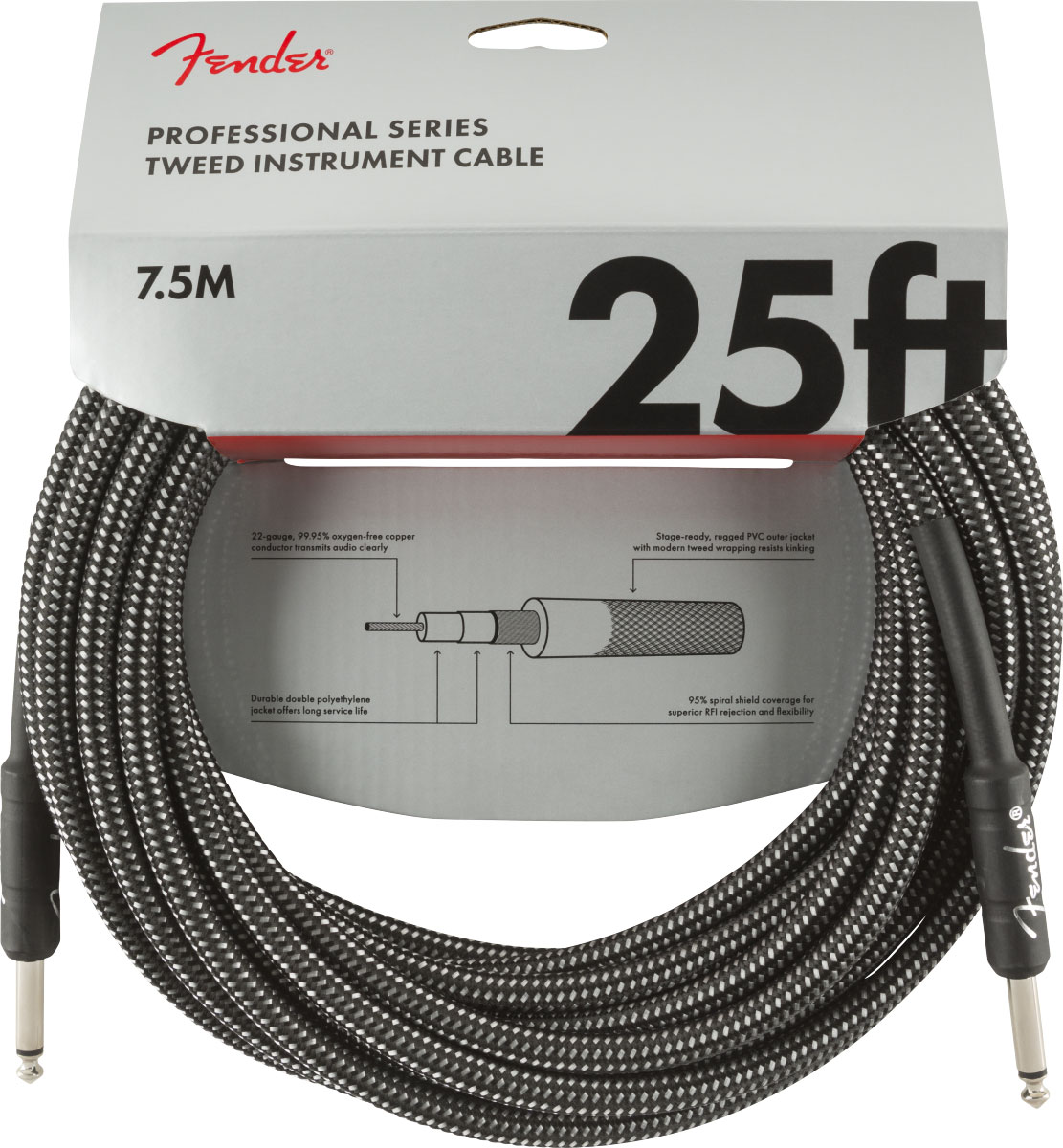 PROFESSIONAL SERIES INSTRUMENT CABLE 25' GRAY TWEED
