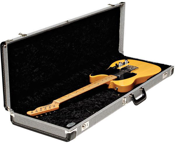 G&G DELUXE STRAT/TELE HARDSHELL CASE BLACK TWEED WITH BLACK INTERIOR