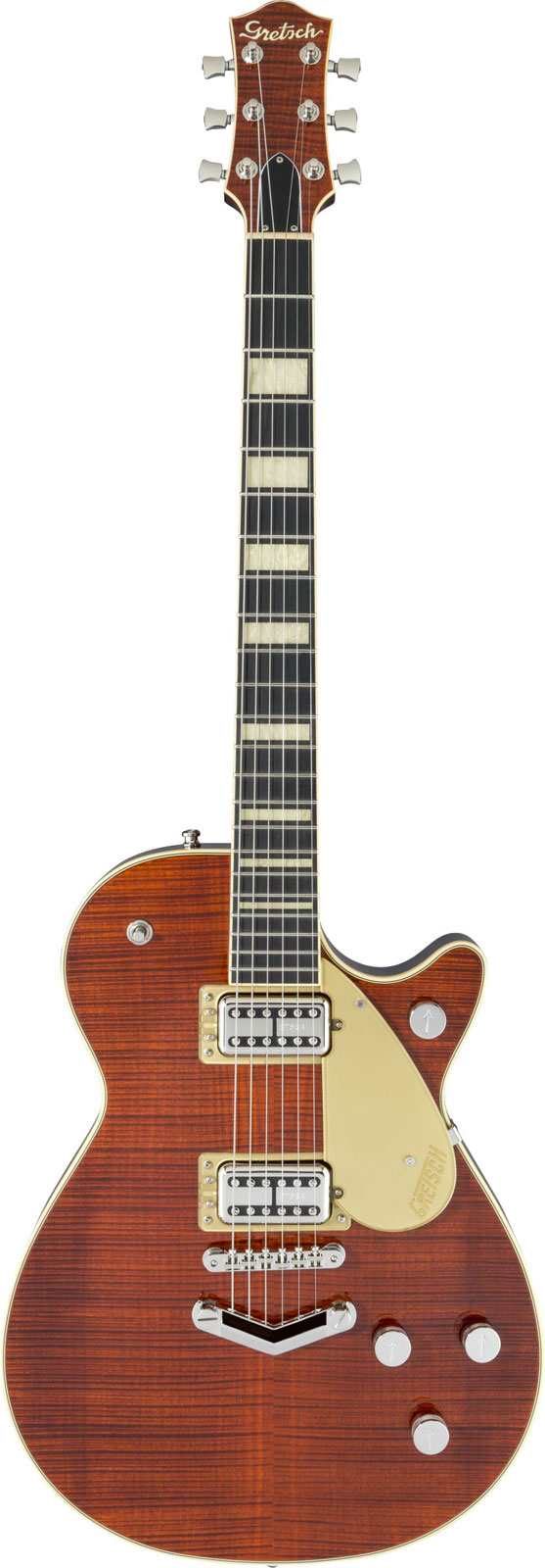Gretsch Guitars G6228fm Players Edition Jet Bt With V-stoptail Flame Maple Ebony Fingerboard Bourbon Stain