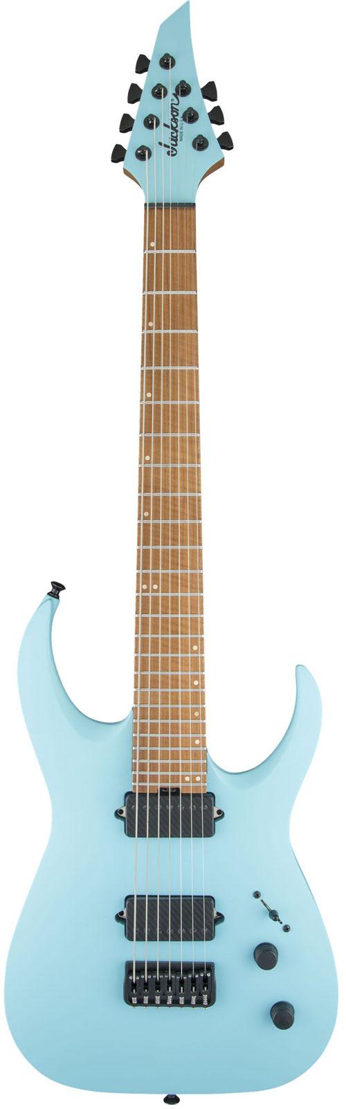 Jackson Guitars Usa Signature Misha Mansoor Juggernaut Ht7 Caramelized Flame Maple Fingerboard Satin Daphne Blue