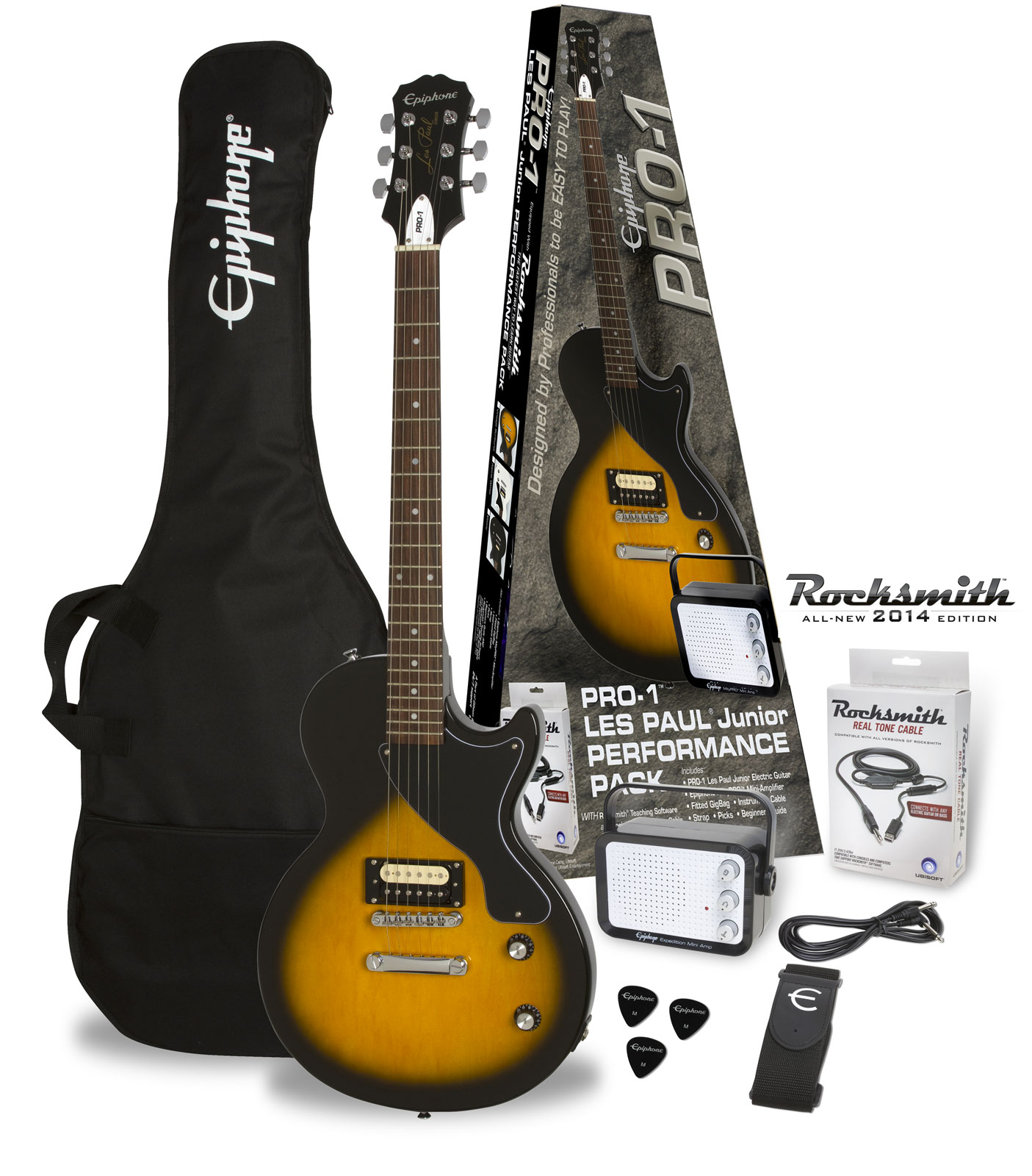 Epiphone Pro-1 Les Paul Junior Vintage Sunburst Pack (rocksmith)