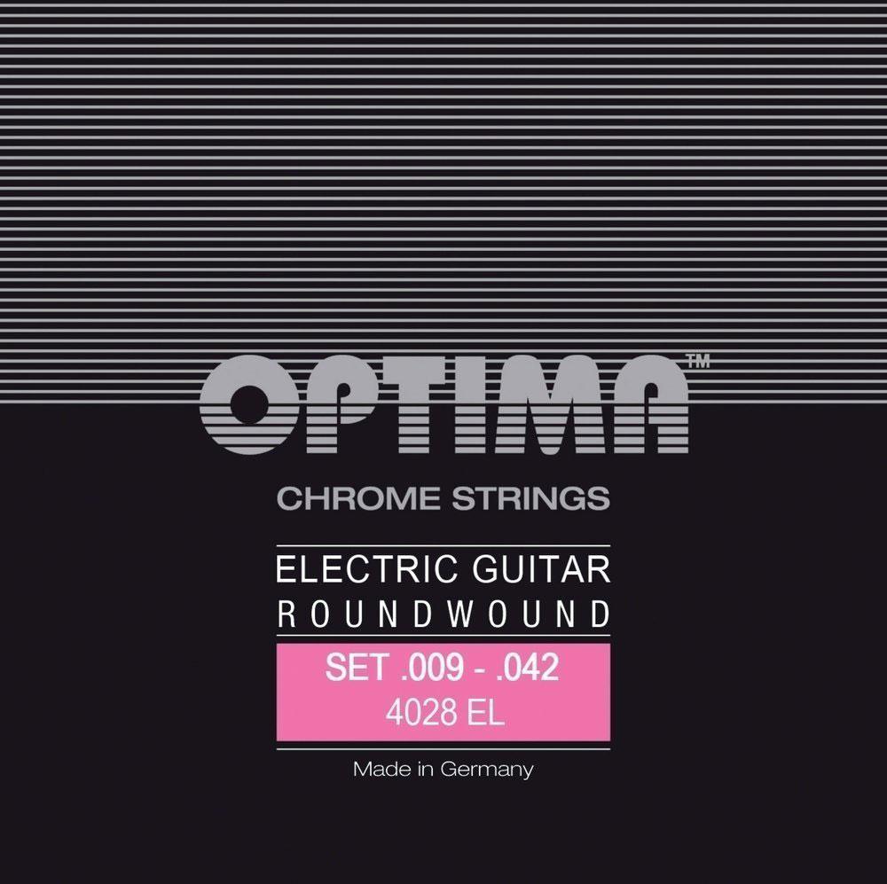 Optima cordes pour guitares electriques chrome strings round wound e.009