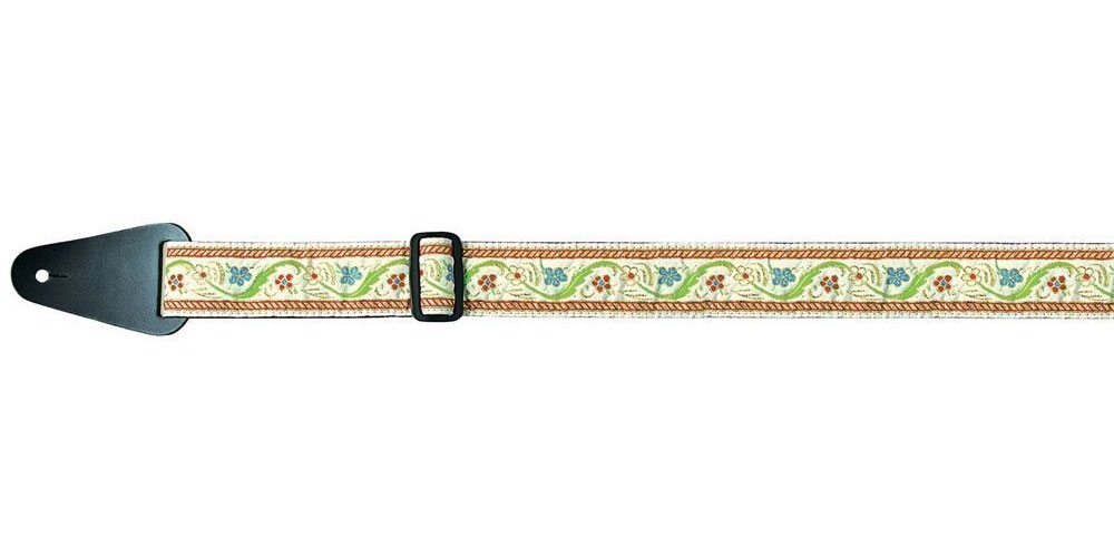 FOLKLORE EDITION GUITAR STRAP JACQUARD FLOWERS, CLEAR