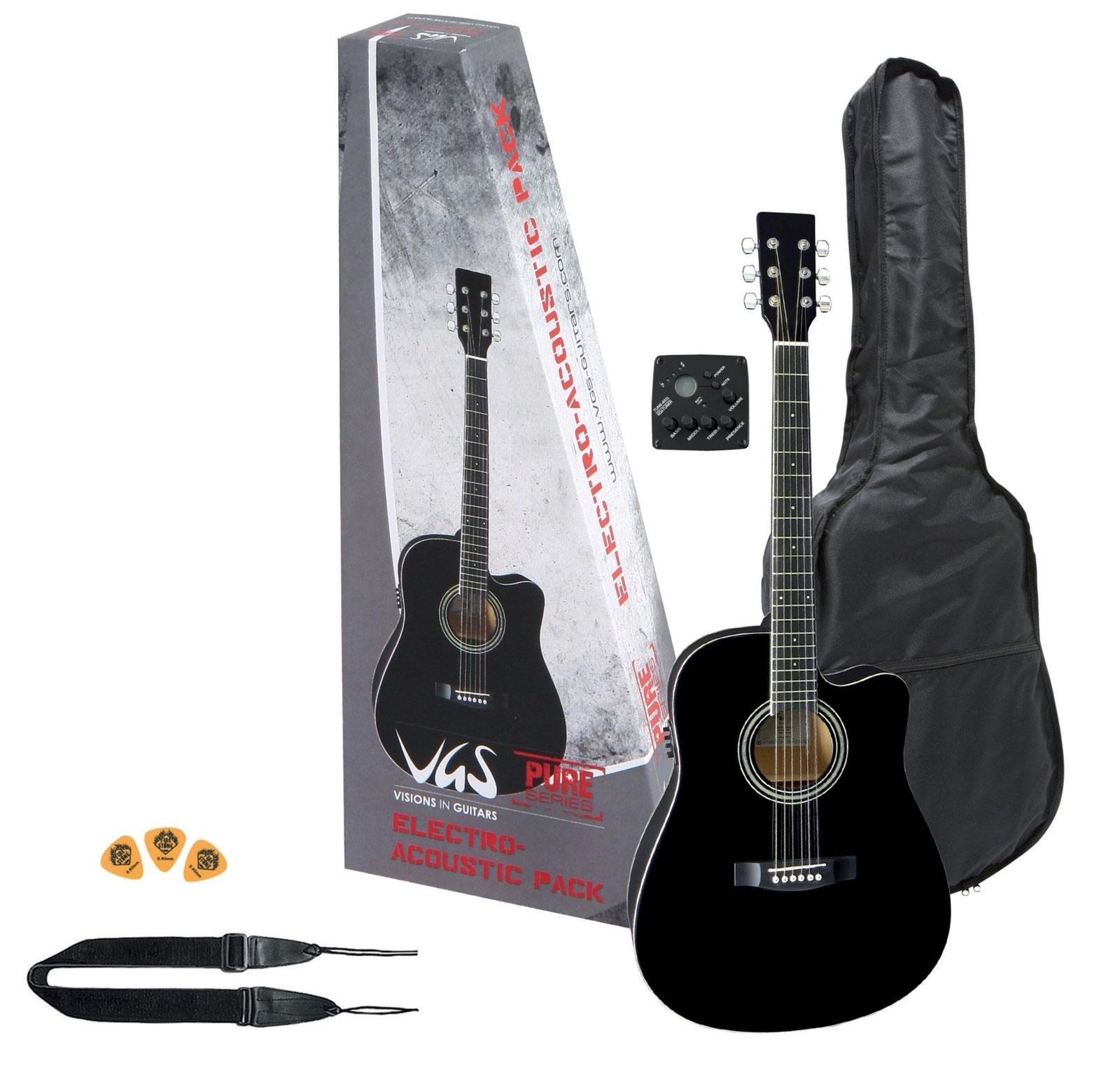 pack guitare lectro acoustique pan coup simple noir. Black Bedroom Furniture Sets. Home Design Ideas