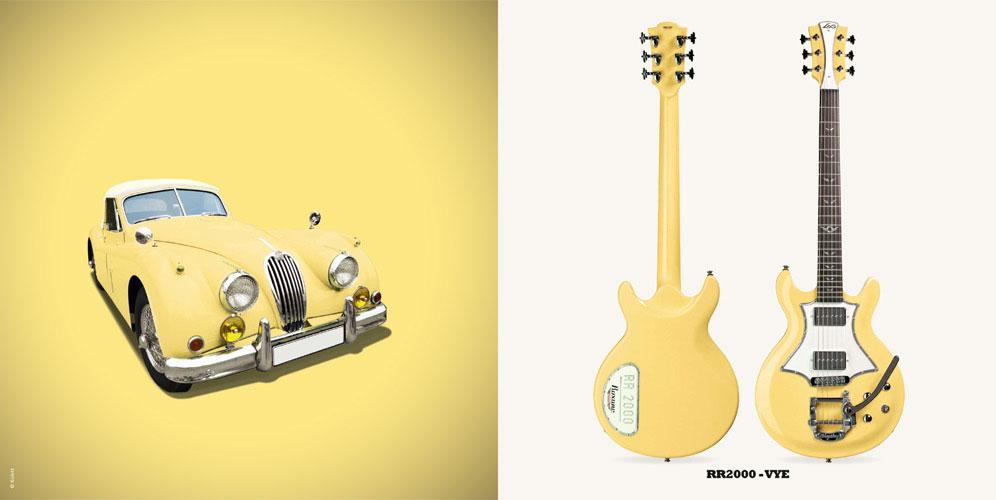 Guitare Electrique Lag Roxane Racing Bedarieux 2000 Vintage Yellow Bigsby