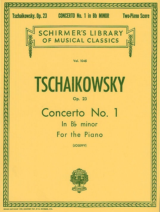Schirmer Pyotr Ilyich Tchaikovsky Piano Concerto No 1 In B Flat Minor Op 23 Two Pianos Woodbrass Com