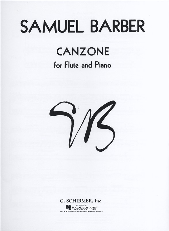 SAMUEL BARBER CANZONE - FLUTE