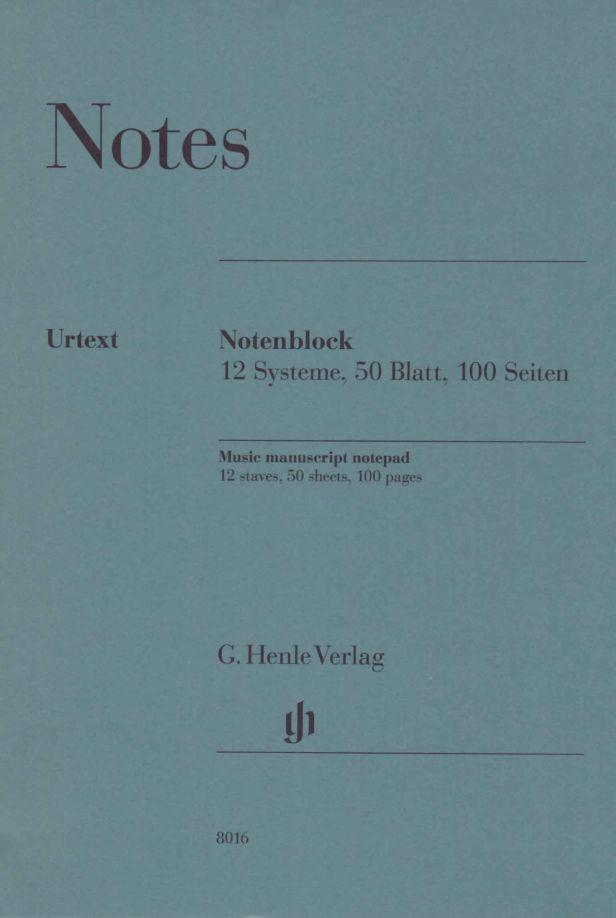 Bloc Papier Musique Henle - 12 Portées - 50 Feuilles
