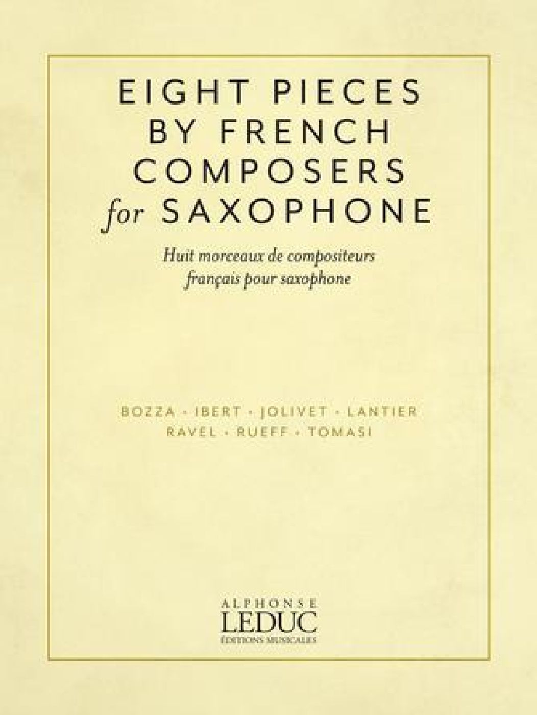 Eight Saxophone Pieces By French Composers - Sax Alto Et Piano