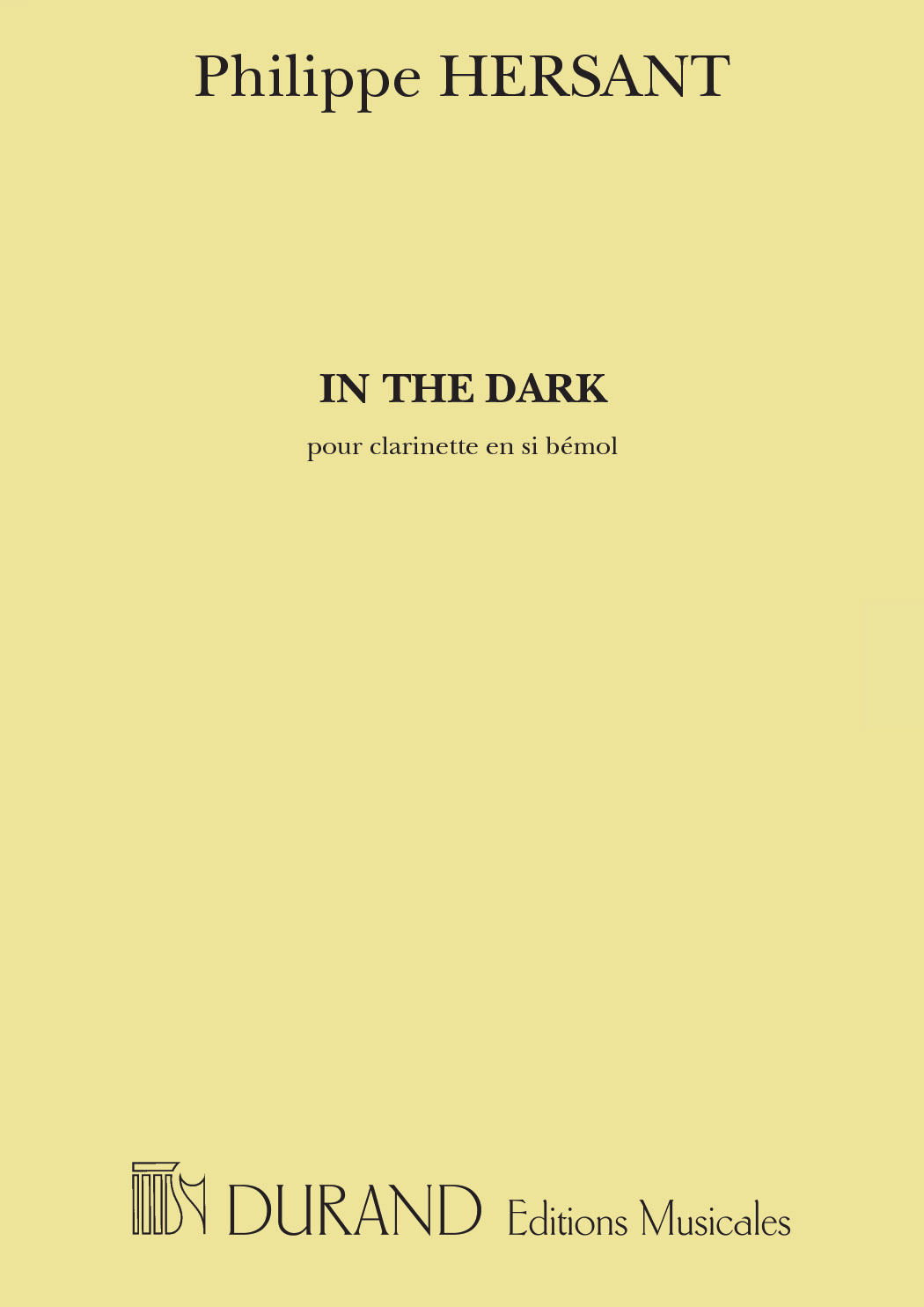 HERSANT P. - IN THE DARK - CLARINETTE