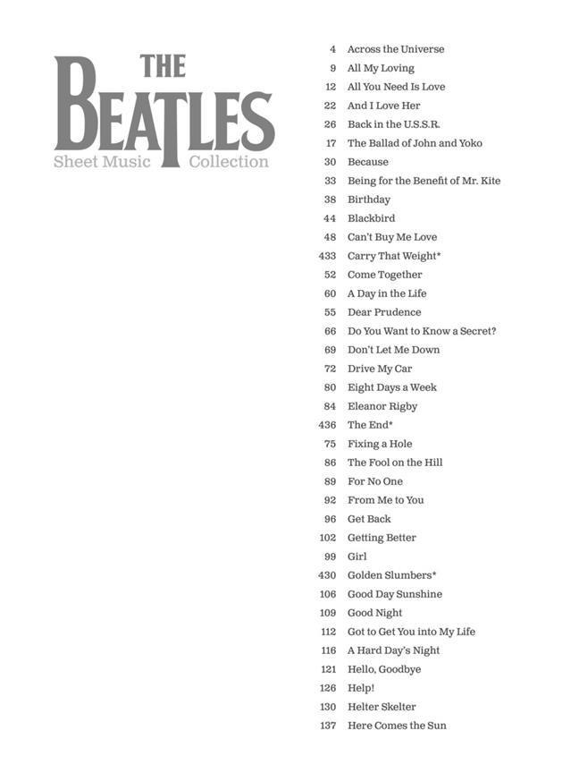 Livres De Chansons The Beatles Partition The Beatles Tablatures