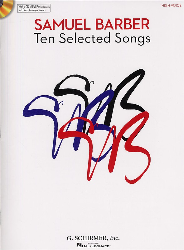 SAMUEL BARBER - TEN SELECTED SONGS - HIGH VOICE+ CD - HIGH VOICE