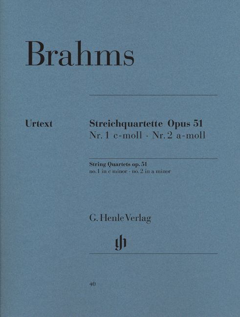 BRAHMS J. - STRING QUARTETS IN C MINOR AND A MINOR OP. 51