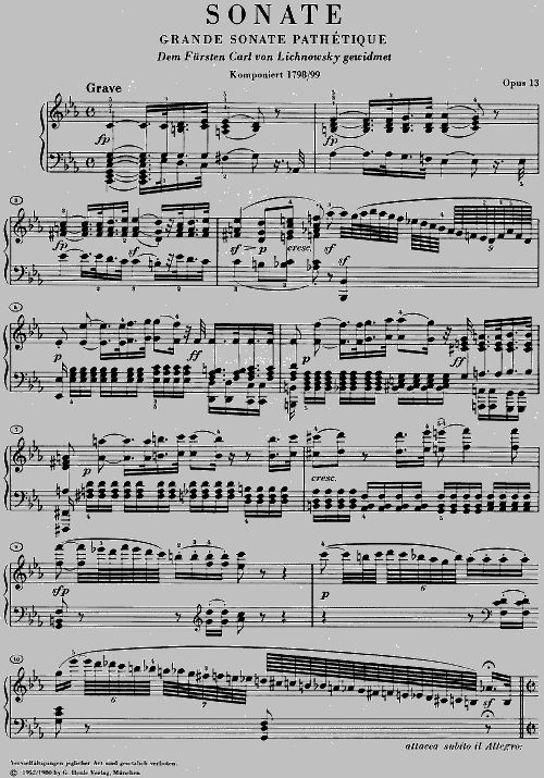 BEETHOVEN L.V. - PIANO SONATA NO. 8 C MINOR OP. 13 [GRANDE SONATA PATHETIQUE]