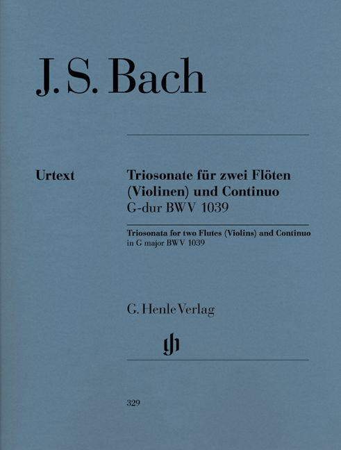 BACH J.S. - TRIO SONATA FOR TWO FLUTES AND BASSO CONTINUO IN G MAJOR BWV 1039